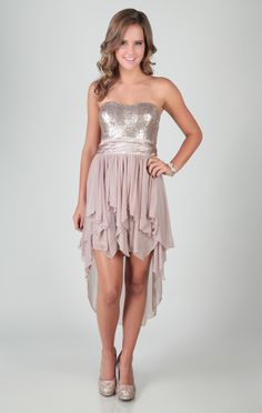 Sequin High Low Dress with Empire Waist and Chiffon Tendrils Overlay