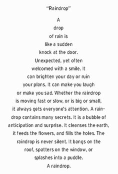 Language Arts with Miss Holly: Concrete Poem Fun! Shape Poems For Kids, Poetry For Kids, Kids Poems, Nature Poems For Kids, Water Poems, Rain Poems, Poems About Water, Poems About Rain, Poem On Rain