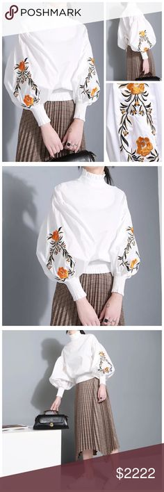 """🆕 White Embroidery Puff Sleeve Top ‼️ PRICE FIRM ‼️ 10% DISCOUNT ON 2 OR MORE ITEMS FROM MY CLOSET ‼️   Embroidery Top Retail $94 NEW WITH TAGS  Love this top. Embroidery puff sleeves. 85% cotton, 15% polyester. Measurements given are with the top flat. There is a lot more fabric to give it the puffy look.   SMALL Bust 37"""" Length 20.5  MEDIUM Bust 40"""" Length 20.5"""" Tops"""