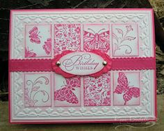 Could be done with any color.  Love the use of the embossing folder to frame the center panels.