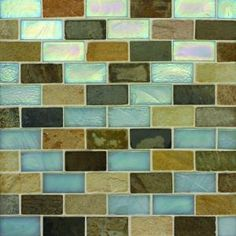 Glass and Slate Mosaic Floor & Wall Tile - kitchen backsplash? Mosaic Wall Tiles, Kitchen Wall Tiles, Bathroom Floor Tiles, Kitchen Backsplash, Tile Ideas, Backsplash Ideas, Green Street, Home And Living, Home Remodeling