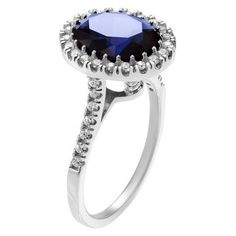 2 4/5 CT. T.W. Oval-cut Cubic Zirconia Halo Prong Set Ring in Sterling Silver - Blue6, Women's, Size: 6, Blue