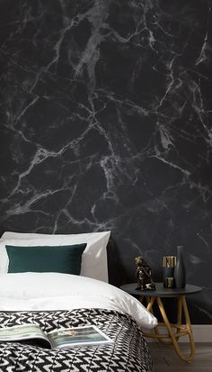 Love this sumptuously dark bedroom space. This faux marble texture wallpaper brings an instant air of sophistication to your home! It's perfect for modern bedroom spaces looking for an unique way to dress the walls.