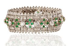 Emerald and diamond bracelet by Marcus & Co. #estatejewelry