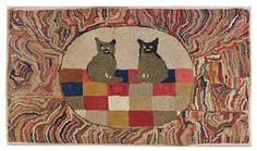"hooked rug ""m.a.d. cats"" ca. 1885"