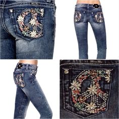 Peace Sign Miss Me's NWT Size: 27x33 Miss Me Peace Sign Miss Me's NWT Size: 27x33 Miss Me Simply Fabulous Floral Peace Sign Miss Me Bootcuts  are Ultra Figure Flattering and Ready to be Shown Off!! Miss Me Jeans Boot Cut