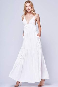 Yumi Kim Love Story Maxi  | YUMIKIM.COM | Our Love Story Maxi features romantic ruffled accents and an effortless, free flowing silhouette. Details include a spaghetti straps, a low scoop back, and empire bodice with adjustable drawstring. #white