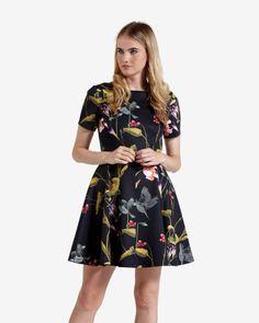Oriental Floral skater dress - Black | Dresses | Ted Baker