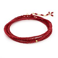 Red-dyed Chinese bamboo wrap bracelet with 18k yellow hex bead :: Anne Sportun