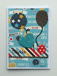 Tag small card - Kid birthday card with balloons - balloon - til og fra kort - fødselsdag - Carta Bella Boy oh Boy paper pad