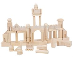Wholesale High Quality Burlywood Wooden Castle Building Blocks Toys