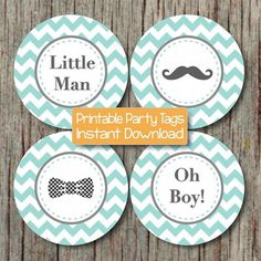 Little Man Bow Tie Mustache Baby Shower Oh Boy Cupcake Toppers Printable Favor Tags Digital diy Light Teal Grey Chevron 160 by bumpandbeyonddesigns, $4.00 USD