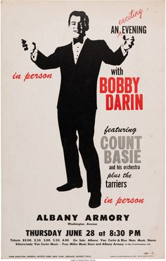 Bobby Darin/Count Basie Albany Armory Concert Poster (1962).... | Lot #89199 | Heritage Auctions