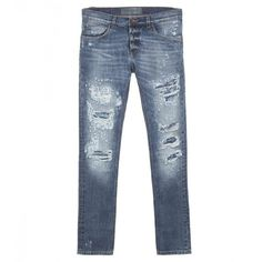 Dolce & Gabbana Blue Cotton Distressed Slim Jeans (53.430 RUB) ❤ liked on Polyvore featuring men's fashion, men's clothing, men's jeans, mens cotton jeans, mens destroyed jeans, mens distressed jeans, mens blue jeans and dolce gabbana mens jeans