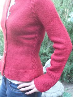 Christmas cardi with cables - love those cables