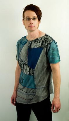 Mens Cyber Punk patchwork shirt in gray and blue by PopLoveCouture, $50.00
