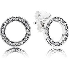 Pandora Earrings (205 RON) ❤ liked on Polyvore featuring jewelry, earrings, silver, pave earrings, pave jewelry, stud earring set, pandora jewelry and pave stud earrings