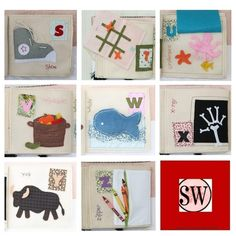 "Quiet Book: Letters ""S"" through ""Z""  S tie a shoe  T tic tac toe  U under the sea  V basket o veggies  W big whale  X x-ray machine  Y fuzzy yak  Z zipper pocket"