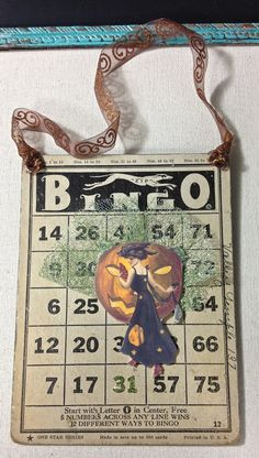 Items similar to Halloween Bingo Card Wall Hanging with Dancing Couple on Etsy Halloween Bingo Cards, Halloween Tags, Card Crafts, Paper Crafts, Vintage Halloween Crafts, Atc Cards, Harvest Time, Mail Art, Project Life