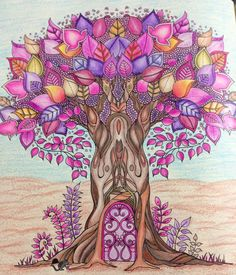 Trees, enchanted trees, abstract trees, beautiful forest, colorful  forest, enchanted forest coloring book, secret garden, adult coloring, purple, beautiful, colorful, completed work, completed picture, inspiration,