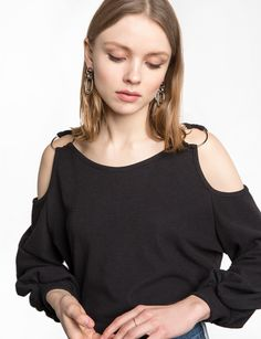 Black Shoulder Ring Top