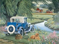 Gone Fishing-John Sloane. This picture makes me think of my dad. He has an old 1930 Model A same color that he restored.