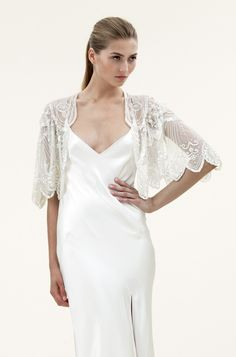 Embroidered lace shrug by Jenny Packham