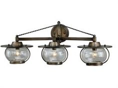 Vaxcel Jamestown Parisian Bronze & Seeded Glass Three-Light Vanity Light