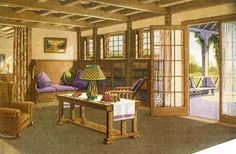 arts and crafts built in bookshelves | Craftsman living room/sunroom - note built in bookshelves and seating.