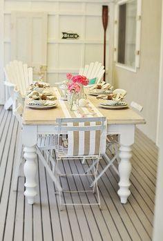 pretty coastal style white table - vintage beachy from abeachcottage.com