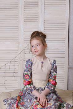 Купить Платье из павловопосадского платка сон бабочки для мамы и дочки - русский стиль, бежевый, платье