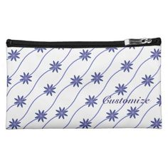 Blue & White Daisy Chain Floral Pattern Cosmetics Bag
