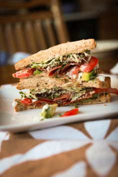 tomatoes, avocado slices, bacon, and broccoli sprouts with lemon-basil mayo :: the BLAT from cheekykitchen