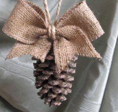 Burlap pine cone ornament