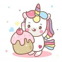 Lindo vector de unicornio y cupcake