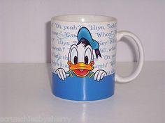 Disney Store Donald Duck & Goofy Coffee Mug Tea Soup Cup Blue White