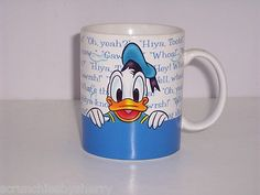 Disney Store Donald Duck & Goofy Coffee Mug Tea Soup Cup Blue White