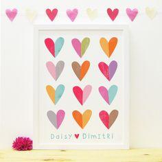 Valentine's Love Hearts print | Paper Penknife