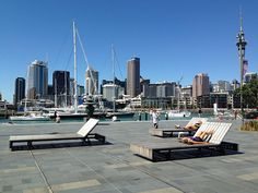 Over-sized deck chairs at Auckland's Wynyard Quarter in New Zealand