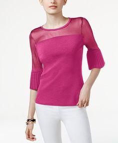 INC International Concepts Petite Ruffle-Sleeve Illusion Sweater, Only at Macy's | macys.com