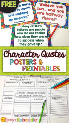 FREE! Are you a teacher who wants your students to deepen their connections, reflections, and understanding to character traits and growth mindset? These FREE character quotes posters and printables are the perfect segue to meaningful class discussions and reflections on character traits related to growth mindset. Print and GO!