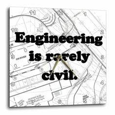 3dRose dpp_149859_2 Engineering is Rarely Civil. Civil Engineer Wall Clock 13 by 13Inch *** Check this useful article by going to the link at the image.
