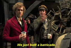 He's so proud, just like Enjolras would be! You know, if Enjolras took a time out to have a drink after the building the barricade...haha! (GIF)