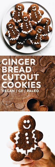 Soft and tender, crispy edges, warm spices, just sweet enough – these Gingerbread Cutout Cookies are everything a FAVORITE Christmas cookie should be! Healthy Dessert Recipes, Gluten Free Desserts, Vegan Desserts, Cookie Recipes, Vegan Recipes, Healthy Food, Baking Recipes, Free Recipes, Gingerbread Cookies
