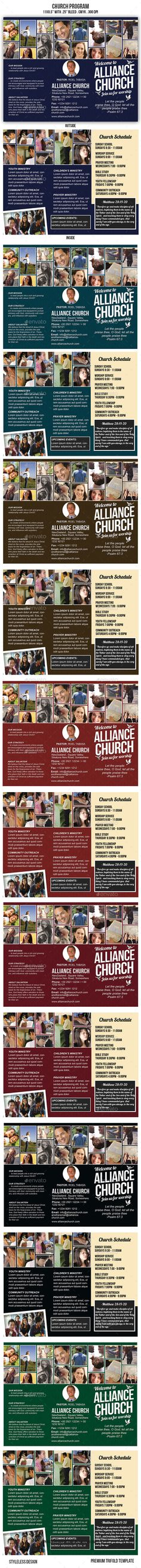 Front and back, half-fold, church program Great for religious - church program