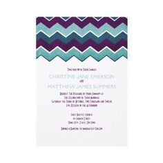 Purple and Teal Zig Zag Wedding Invitations  This beautiful retro and fun modern invitation features teal blue and turquoise and purple chevron zigzag stripes across the top and bottom with simple and elegant text that is totally customizable to your event's needs. This colorful and fun pattern is great for any bride looking for a classic but bold look. Can also be used for spring wedding, summer wedding fall and autumn wedding, outdoor backyard wedding, bridal shower,