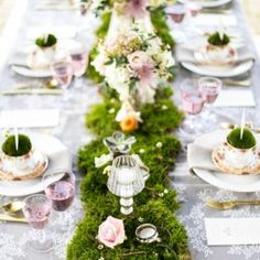 Moss table runner & pretty vintage china!