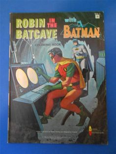 Robin In The Batcave With Batman 1966 Coloring Book Item 1833 2 C1