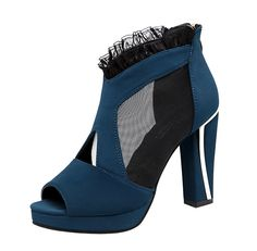 TMates Women's Sexy Peep-Toe Mesh Lace Zipper Chunky Heel Sandals *** This is an Amazon Affiliate link. Read more at the image link.