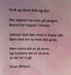 Dikt av Einar Økland